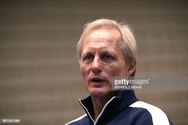 In this picture taken on December 13 North Korea national football team's head coach Jorn Andersen from Norway speaks during an interview with AFP at...