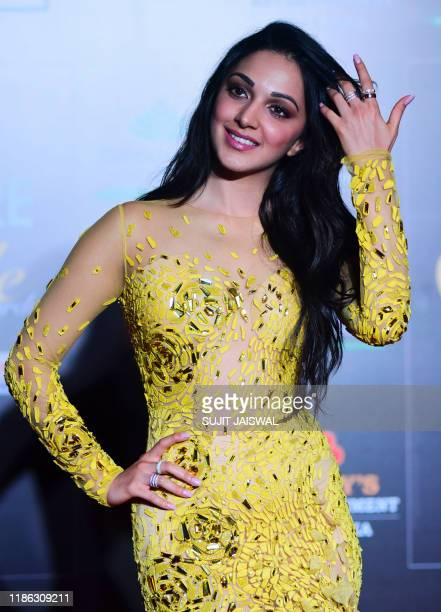 In this picture taken on December 3, 2019 Bollywood actress Kiara Advani arrives at the Filmfare Glamour and Style Awards in Mumbai.