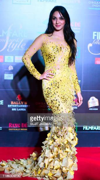 In this picture taken on December 3 2019 Bollywood actress Kiara Advani arrives at the Filmfare Glamour and Style Awards in Mumbai