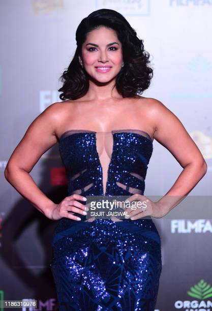 In this picture taken on December 3, 2019 Bollywood actress Sunny Leone arrives at the Filmfare Glamour and Style Awards in Mumbai.