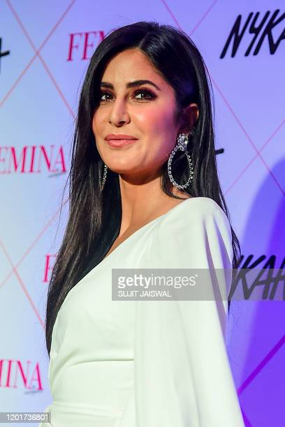 In this picture taken on February 18 Bollywood actress Katrina Kaif poses for photographs as she arrives at the 'Nykaa Femina Beauty Awards 2020' in...