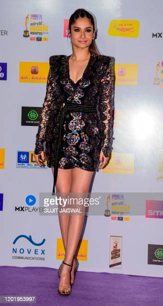 In this picture taken on February 19 Bollywood actress Ankita Lokhande poses for photographs as she arrives at the '12th Radio Mirchi Music Awards...