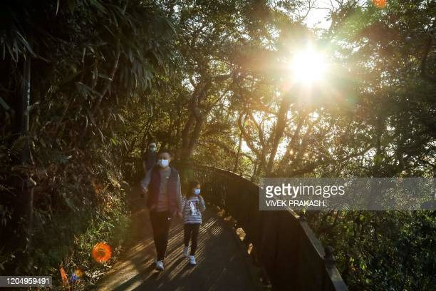 In this picture taken on February 22 people walk as sunlight filters through the trees along a hiking trail in Hong Kong Remote hiking trails are...