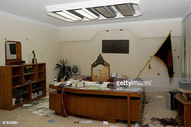 In this picture taken on February 28 The ransacked office of an officer is seen at the Bangladesh Rifles headquarters in Dhaka Police in Bangladesh...