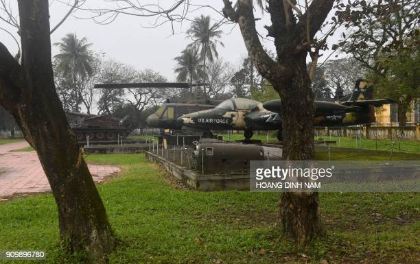 In this picture taken on January 17 USmade tanks and aircraft captured during the war are displayed at the Revolutionary Museum in Hue The Tet...