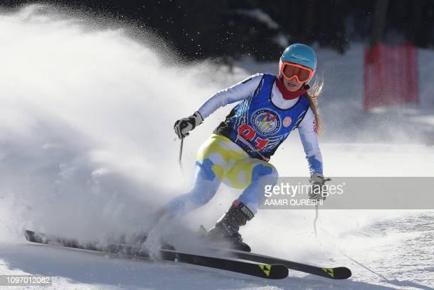 In this picture taken on January 29 Ukrainian skier Anastasia Gorbunova takes part in the CAS Karakoram International Alpine Ski Cup at the Pakistan...