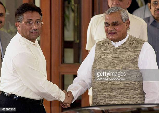 In this picture taken on July 15 Pakistani President Pervez Musharraf is greeted by then Indian Prime Minister Atal Behari Vajpayee prior to summit...