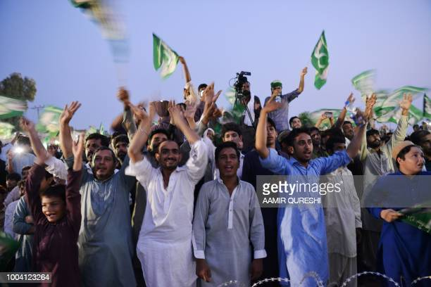 In this picture taken on July 19 supporters of Shahbaz Sharif, the younger brother of ousted Pakistani Prime Minister Nawaz Sharif and the head of...