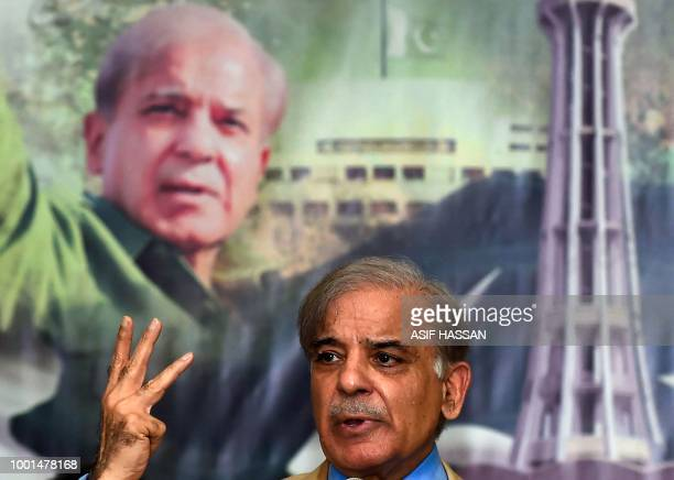 In this picture taken on July 5 Shahbaz Sharif the younger brother of ousted Pakistani prime minister Nawaz Sharif and the head of Pakistan Muslim...