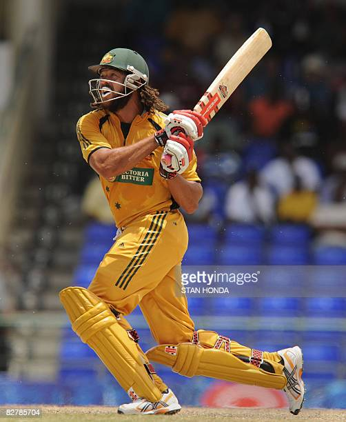 In this picture taken on July 6 Australian cricketer Andrew Symonds plays a stroke during a one day international match between Australia and The...
