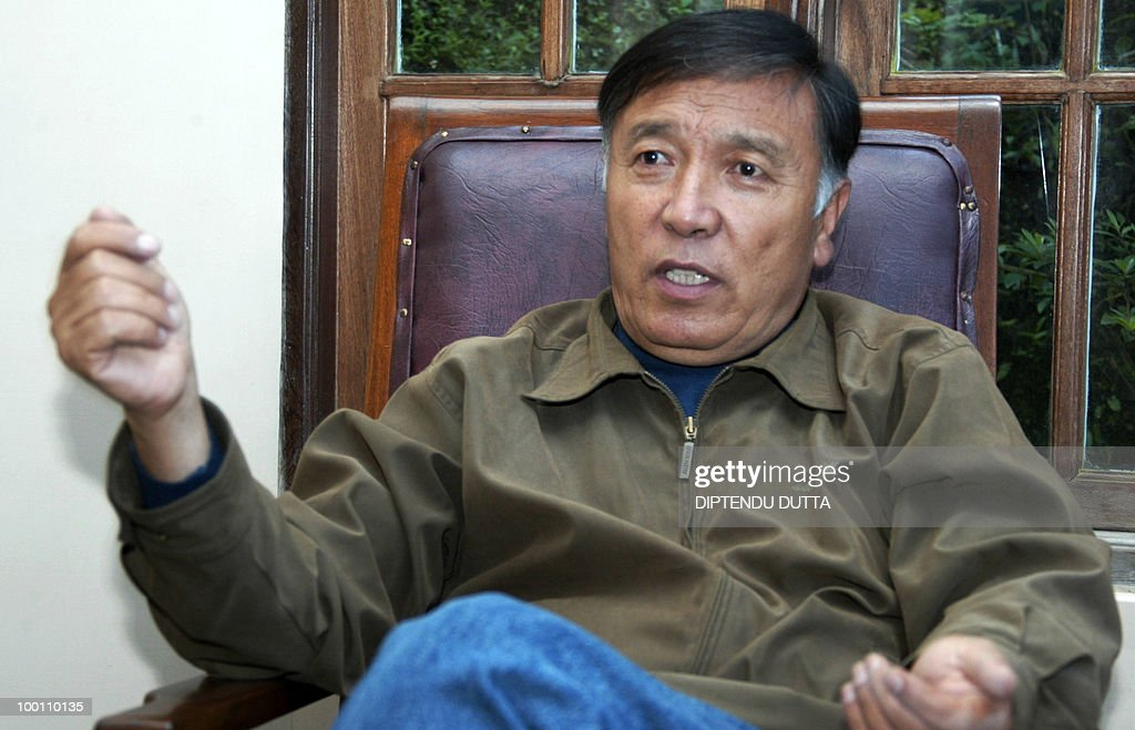 In this picture taken on July 6, 2008, then President of the Akhil Bharatiya Gorkha League (ABGL) Madan Tamang speaks with AFP during an interview in his residence in Darjeeling. Tension gripped the eastern Indian hill town of Darjeeling with the murder Friday of a separatist leader campaigning for a new state for ethnic Nepalese speakers, police said. Security in the tea-growing region in West Bengal was stepped up after Madan Tamang, president of the All India Gorkha League, was fatally stabbed as he was about to address a public meeting. AFP PHOTO/Diptendu DUTTA