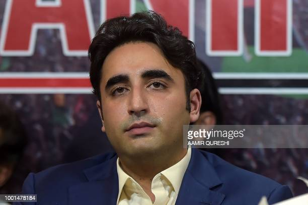 In this picture taken on June 28 chairman of the Pakistan Peoples Party Bilawal Bhutto Zardari looks on as he presents their party manifesto in...