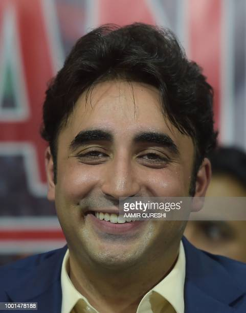 In this picture taken on June 28 chairman of the Pakistan Peoples Party Bilawal Bhutto Zardari smiles as he presents their party manifesto in...