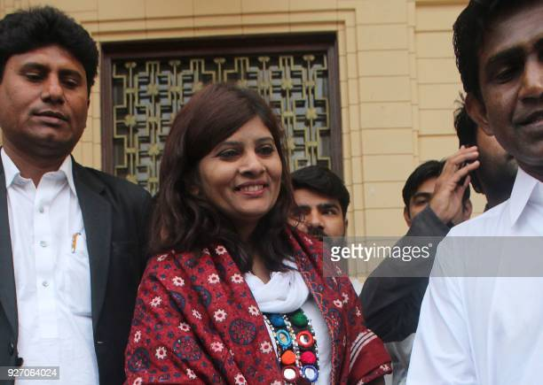 In this picture taken on March 3 Pakistani opposition candidate Krishna Kumari Kohli walks out from the Sindh province assembly building after the...