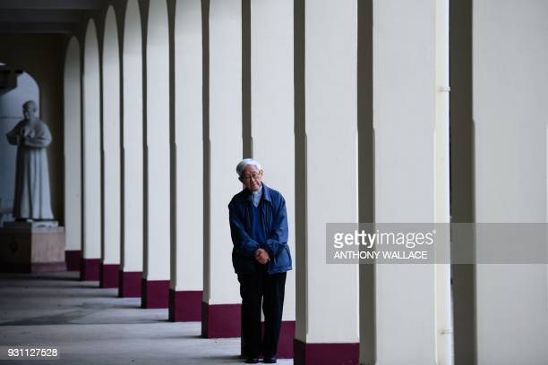 In this picture taken on March 5 Cardinal Joseph Zen former Bishop of Hong Kong, poses during an interview with AFP in Hong Kong. - Hong Kong...