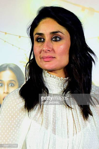 In this picture taken on March 7 Bollywood actress Kareena Kapoor Khan poses for pictures during the screening of Hindi drama web-series 'Mentalhood'...