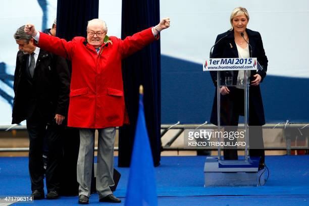 In this picture taken on May 1 2015 in Paris France's farright political party Front National founder and honorary president JeanMarie Le Pen...