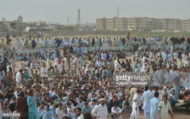 In this picture taken on May 13 supporters and activists of Pashtun Protection Movement wait for their leader Manzoor Pastheen during a protest rally...