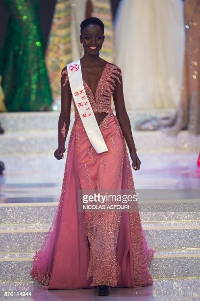 In this picture taken on November 18 2017 Miss Kenya Magline Jeruto is seen on stage during the 67th Miss World contest final in Sanya on the...