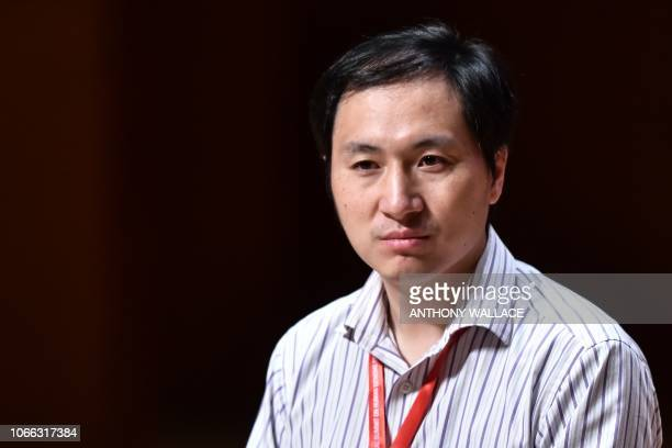 In this picture taken on November 28 Chinese scientist He Jiankui reacts during a panel discussion after his speech at the Second International...