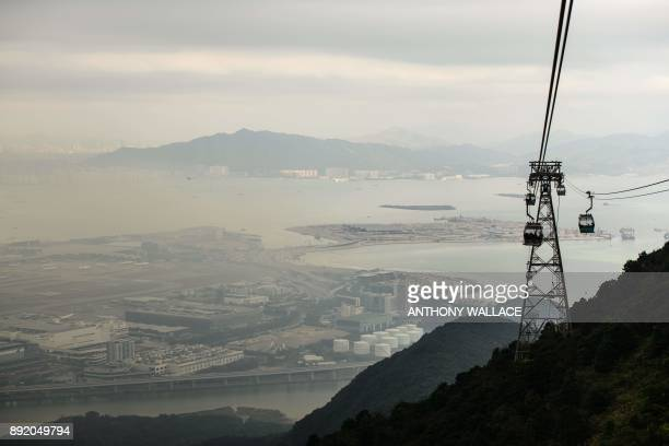 In this picture taken on November 29 a general view taken from a cable car shows a section of the Hong KongZhuhaiMacau Bridge and an artificial...