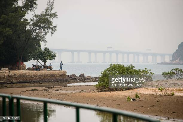 In this picture taken on November 29 a man looks out from the Lantau fishing village of Tai O towards the Hong KongZhuhaiMacau Bridge in Hong Kong...