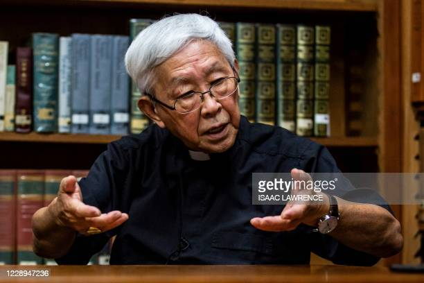 In this picture taken on September 11 Cardinal Joseph Zen, former bishop of Hong Kong, speaks during an interview with AFP at the Salesian House of...