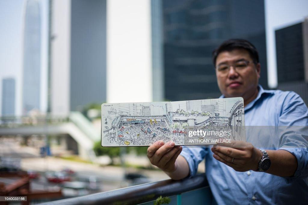 HONG KONG-CHINA-PROTESTS-ART-UMBRELLA-MOVEMENT-POLITICS : News Photo