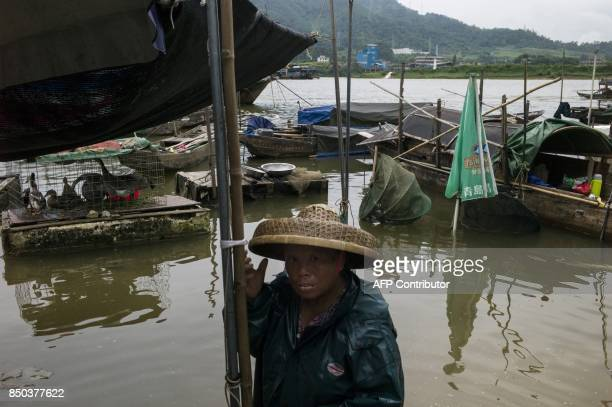 In this picture taken on September 7 a woman from the Tanka community waits for customers to buy her fish in Datang in southern China's Guangdong...