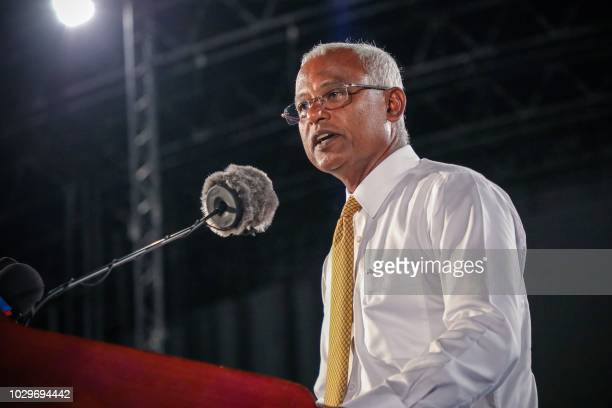 In this picture taken on September 8 Maldives' main opposition leader and presidential candidate Ibrahim Mohamed Solih addresses a crowd during a...