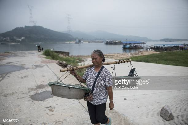 In this picture taken on September 9 a woman from the Tanka community carries fish to sell in Datang in southern China's Guangdong province Along...