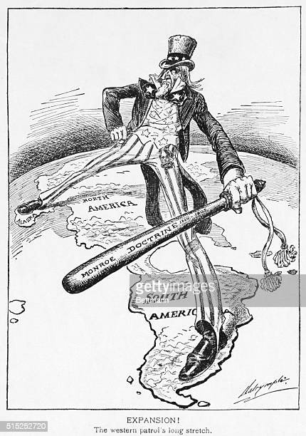 In this political cartoon about U.S. Expansionism in the Pacific, Uncle Sam straddles the Americas while weilding a big stick inscribed with the...