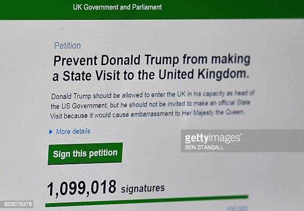 In this posed picture taken in Brenchly southeast England on January 30 a laptop screen displays a parliamentary petition on the website of the...