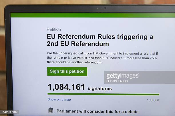 In this posed picture taken in London on June 25 a laptop screen displays a parliamentary petition on the website of the British government calling...