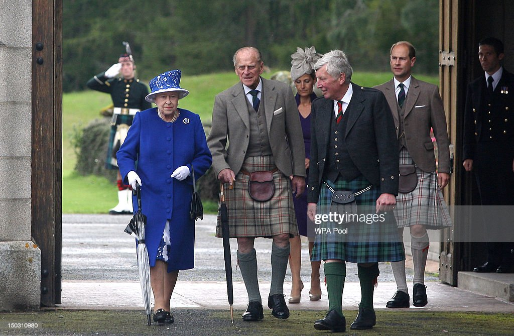 In this previously unissued file photo dated August 07, 2012, Queen Elizabeth II and Prince Edward, Earl of Wessex (R) walk with Prince Philip, Duke of Edinburgh (2nd left) on August 07, 2012 in Aberdeenshire, United Kingdom. According to a spokeswoman, the Duke has been admitted to Aberdeen Royal Infirmary while staying at Balmoral with the Queen. Details of the reason for his hospitalisation were not available. It comes just two-and-a-half months after he spent five nights in hospital with a bladder infection following the Diamond Jubilee Pageant on the River Thames.