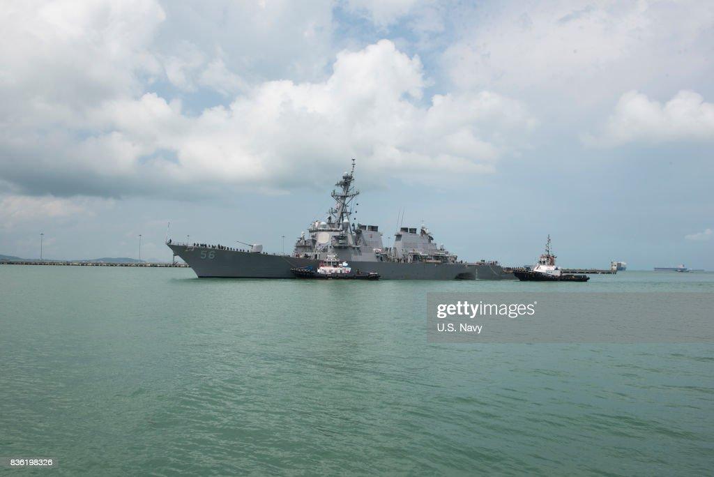 USS John S. McCain arrives at Changi Naval Base : News Photo