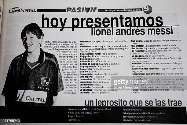 In this reproduction of La Capital Journal Lionel Messi makes his first appearance in the press at 12 years old on CIRCA 1999 in Rosario Argentina He...