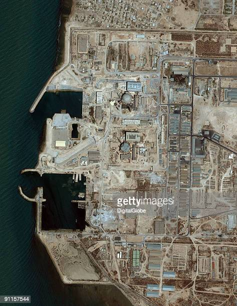 In this satellite image Iran's Nuclear Power Station stands beside the coast in Bushehr Iran According to reports Iran's nuclear programme began at...