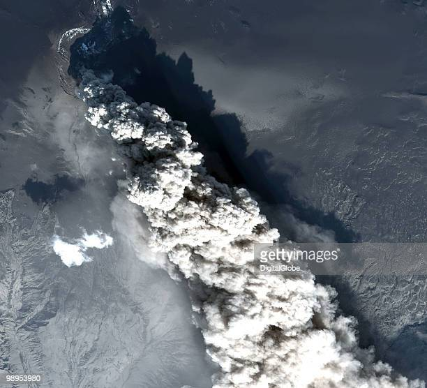In this satellite image the Eyjafjallajokull Volcano is seen erupting May 10 2010 in Eyjafjallajokull Iceland
