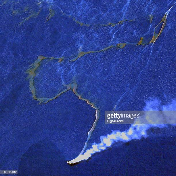 In this satellite image the West Atlas Oil Rig is seen August 31 2009 in the Timor Sea off the coast of Australia A massive spill at the oil rig has...
