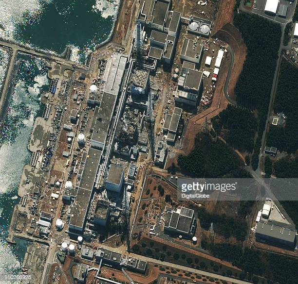 In this satellite view the damaged Fukushima Daiichi Nuclear Power plant is seen after a massive earthquake and subsequent tsunami on March 17 2011...