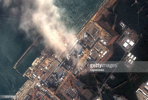 In this satellite view the Fukushima Daiichi Nuclear Power plant after a massive earthquake and subsequent tsunami on March 14 2011 in Futaba Japan...