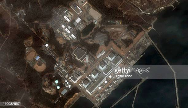 In this satellite view the Fukushima II Dai Ni Nuclear Power plant after an 89 magnitude earthquake and subsequent tsunami on March 13 2011 in Naraha...