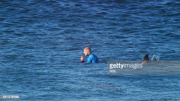 In this screen grab from footage by the World Surf League Mick Fanning of Australia shortly before being attacked by a Shark at the Jbay Open on July...