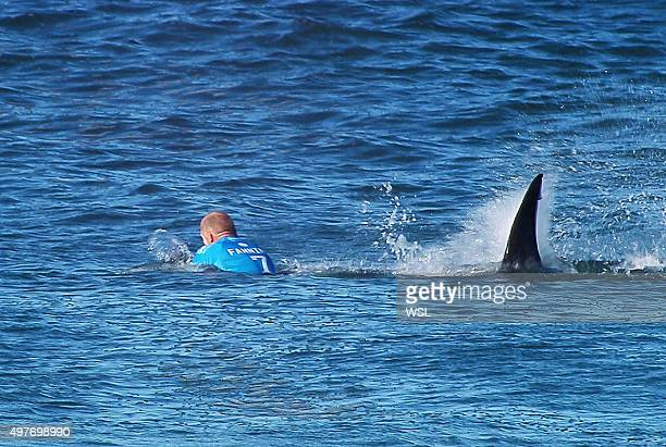 In this screen grab from footage by the World Surf League Mick Fanning of Australia is attacked by a Shark at the Jbay Open on July 19 2015 in...