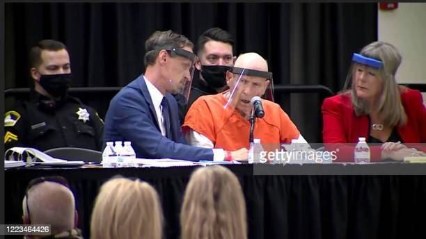 In this screen grab Joseph DAngelo known as The Golden State Killer is seen pleading guilty on a makeshift stage in a university ballroom on June 29...