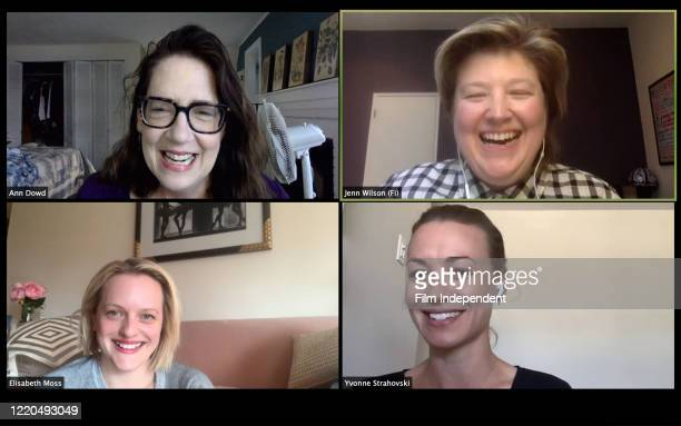 In this screengrab, actor Ann Dowd, Film Independent Senior Programmer Jenn Wilson, actor Elisabeth Moss and actor Yvonne Strahovski participate in a...