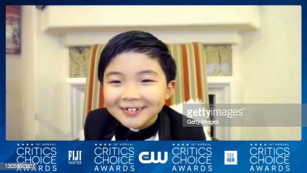 In this screengrab, Alan Kim, winner of Best Young Actor/Actress Award, arrives at the press room at the 26th Annual Critics Choice Awards on March...