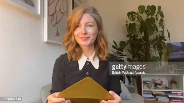 In this screengrab Alice Levine of My Dad Wrote a Porno presents the Best Publisher or Network award supported by 4DC to 'Somethin' Else' during the...