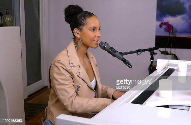 """In this screengrab, Alicia Keys performs during """"Saving Our Selves: A BET COVID-19 Effort"""" airing on April 22, 2020. """"Saving Our Selves: A BET..."""